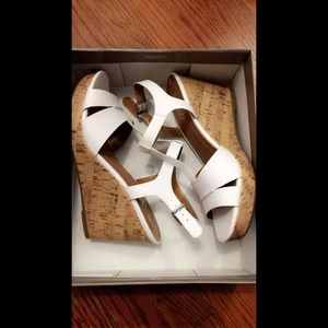 Franco Sarto Wedge Sandals White Mira